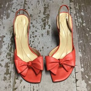 KATE SPADE Bow Slingback Leather Heels Coral 9